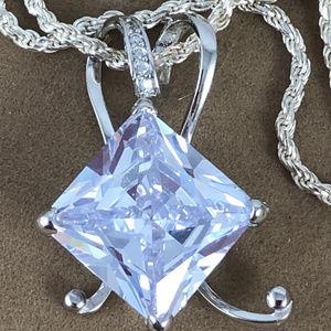 Gem Emporium Jewelry - White Sapphire 925 Solid Sterling Silver Pendant